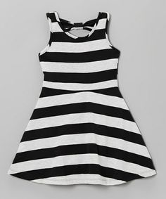 Loving this Black & White Stripe A-Line Dress - Infant, Toddler & Girls on #zulily! #zulilyfinds