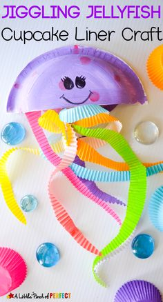 Jiggling Jellyfish Cupcake Liner Craft for Kids: