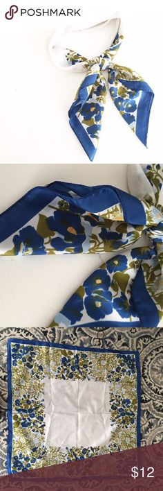 Vintage Floral Square Scarf 100% polyester. Excellent vintage condition. No rips or stains. Cute worn in the hair or around your neck! First picture filtered. Vintage Accessories Scarves & Wraps