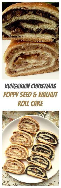 Hungarian Christmas beigli, roll cake, walnut, poppy seed