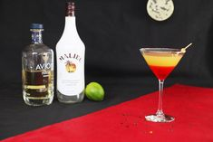 """'The Martian' In the film, astronaut Mark Watney (played by Matt Damon) is stranded on Mars and must learn how to survive on the desolate red planet with limited supplies. The Minibar's """"Martian Sunset"""" contains 1 1/2 ounces of Malibu Coconut Rum, 1 ounce of Anejo Tequila, 4 ounces of pineapple juice, a splash of lime juice, and a dash of grenadine. The rum, tequila, and juices are mixed in a cocktail shaker and poured into a martini glass;"""