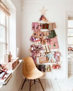 my scandinavian home: A Colourful, Vintage Inspired Danish Home At Christmas / home made advent calendar Pink Christmas Tree, Vintage Christmas Ornaments, Christmas Home, Christmas Decorations, Holiday Decor, Christmas Feeling, Holiday Ideas, Scandinavian Home, Scandinavian Christmas