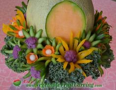Carved Vegetable Flowers at base of Easter Bunny centerpiece