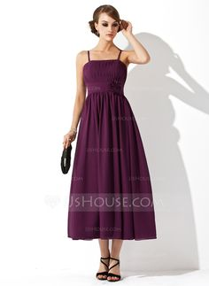 Empire Tea-Length Chiffon Maternity Bridesmaid Dress With Ruffle Flower(s) (045004419)