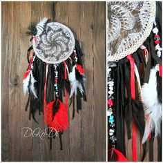 """Diameter 14 cm (5.5 inch), length 40 cm (15.6 inch)    Materials:obsidian stone, stone Bruz, lace, yarns - cotton, feathers, wood beads    Dreamcatcher, dream catcher (angl. inanimate form word """"spider"""", or """"trap dreams"""") — Indian talisman that protects the sleeper from evil spirits. Bad dreams become entangled in a cobweb, and good slip through the hole in the middle.    You can hang the dream catcher in the nursery, bedroom, living room and even on the veranda.    Let me know if you want…"""