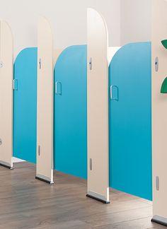Toilet Cubicles - WC Panel Systems for Washrooms Bathroom Remodeling Contractors, Bathroom Renovations, Wc Public, Cubicle Design, Toilet Cubicle, Modern Bathroom Light Fixtures, School Bathroom, Kids Toilet, Hospital Design