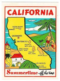 CA CALIFORNIA 1950s-60s MAP SUMMERTIME Souvenir Luggage/Travel Decal VG+ Sharp!