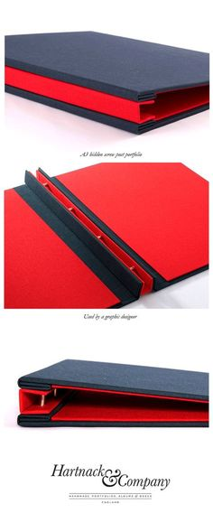 A3 Hidden screw post graphic design custom portfolio with blind debossed logo on cover.