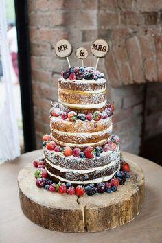 Naked Cake Sponge Fruit Layers Log Pretty Natural Floral Barn Wedding www.johastingspho...