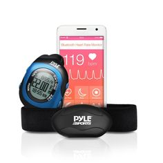 Pyle Fitness Smart Watch and Heart Rate Monitor; Bluetooth LE Heart Rate Sensor Works with Polar, ALA Coach, MotiFit and Strava Goal Tracking Apps For iPhone iPhone 6 and Android Phones (Blue) -- For more information, visit image link. #health