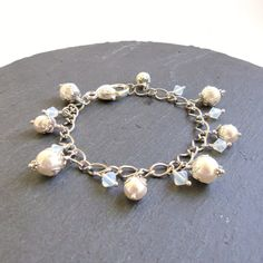 White and opal pearl and crystal Swarovski bracelet by FayeValentineJewelry