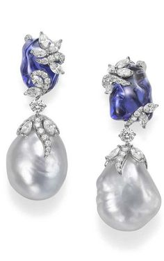 Mikimoto Hyacinthia earrings with baroque South Sea cultured pearls, tumbled tanzanites and diamonds.