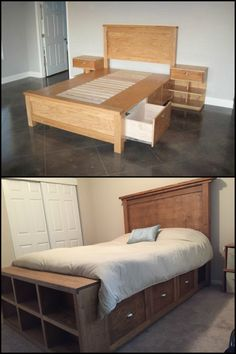 Get Extra Storage in Your Bedroom by Building a Farmhouse Bed With Drawers (Diy Bedroom Men) Bedroom Furniture, Diy Furniture, Furniture Design, Bedroom Decor, Furniture Stores, Furniture Online, Library Furniture, Furniture Logo, Bedroom Kids