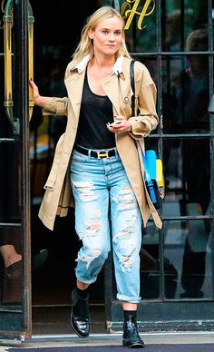 Trench + boyfriend jeans -Diane Kruger
