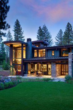 Façade terrasse de nuit - Valhalla Résidence par RKD Architects - Californie, USA