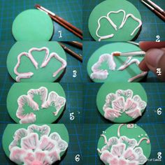 Brush Embroidery- shown here on cookies - same technique for liquid polymer ~ Polymer Clay Tutorials