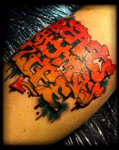 Sick graffiti tattoo by artist Alex Bage  #tattoos #tattoo #ink #art #graffititattoo #hookedontattoos