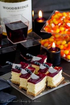 Thick, creamy cheesecake squares topped with a layer of tangy wine gelée. Irresistibly rich and perfect make-ahead dessert! Halloween Baking, Halloween Desserts, Halloween Cupcakes, Halloween Food For Party, Halloween Treats, Bloody Halloween, Halloween Dinner, Holiday Treats, Holiday Recipes