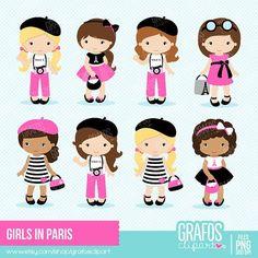 GIRLS IN PARIS Digital Clipart Set Paris Clipart Eiffel