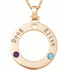 Family Birthstone Circle Pendant Necklace - 14K Gold Plated