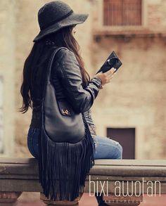 CHETUMAL Fringe Purse Black Leather Bag / Soft by BixiAwotan $113