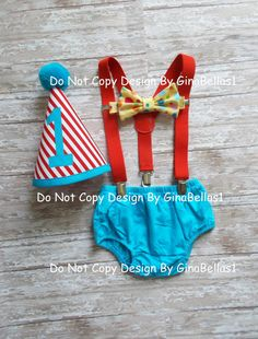 Circus Carnival Birthday outfit cake smash Ring Master One (1) complete 4 piece set with Hat, Diaper Cover in royal blue or turquoise, yellow Polka Dot Bow tie, adjustable suspenders... Perfect for your little mans first birthday ....Sweet pictures for the Memory Book!  PRODUCTION & SHIPPING ¨¨°º©©º°¨¨¨¨¨¨°º©©º°¨¨¨¨¨¨°º©©º°¨¨¨¨¨¨°º©©º°¨¨¨¨¨¨°º©©º°¨¨¨¨¨¨° We know you want your items as soon as possible for your little man , so we gladly offer shipping in about 7-10 BUSINESS DAYS .... plus ...