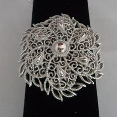 """Reduced!  Trifari Silvertone Filigree Lighweight Shield  2"""" Brooch  Estate Jewelry. This brooch was purchased for $25.00 but it is being sold for $15.99 www.CCCsVintageJewelry.com"""