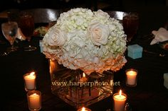 pictures of hydrangea & rose centerpieces | hydrangeas and roses centerpieces. Hydrangea and Rose Centerpiece