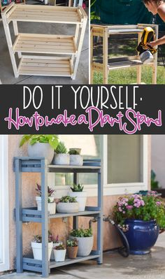 Build this easy Plant Shelf! Learn how to build & paint a wood plant stand for under $40 using the Wagner Flexio 3000 Sprayer. You'll love all the vertical space to organize all your outdoor plants. #sponsored @wagnerspraytech