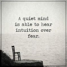 A quiet mind is able to hear intuition over fear.