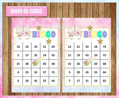 myboutiquepartyfl on Etsy Birthday Party Games For Kids, Unicorn Birthday Parties, 10th Birthday, Unicorn Printables, Party Printables, Class Christmas Gifts, Bingo Card Template, Minnie Mouse Cupcake Toppers, Bingo Chips