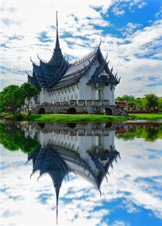 Sanphet Prasat Palace at Ancient Museum in Samutprakran, Thailand...