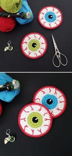 Crochet Eyes, Crochet Fall, Cute Crochet, Crochet Crafts, Crochet Projects, Knit Crochet, Halloween Applique, Halloween Crochet Patterns, Halloween Crochet Hats