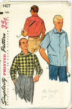 Sharp set of men's sport shirts from the 1950s. Long or short sleeved versions feature a back yoke extending to front in a forward shoulder seam. The soft roll collar is pointed. Option for pocket on