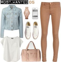 A fashion look from September 2012 featuring white cotton t shirts, cropped denim jacket and skinny fit jeans. Browse and shop related looks. Fall Winter Outfits, Autumn Winter Fashion, Spring Outfits, Girly Outfits, Casual Outfits, Cute Outfits, Casual Clothes, Cute Fashion, Fashion Outfits