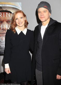 "dailychastain: "" Jessica Chastain and Matt Damon attend a special screening of 'The Martian' on January 2016 in New York City "" New York January, January 4, Celebrity Photos, Celebrity Style, Star Track, Jennifer Hudson, Matt Damon, Jessica Chastain, The Martian"