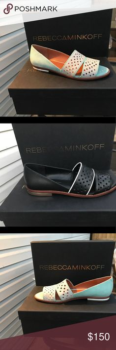 Rebecca Minkoff Sadie OpenToe Flat Available in mint and in black. This open toe sandal with mini heel goes great with dresses, shorts or whatever you feel like matching it with! Leather on top and wood on bottom, very durable shoe. Price listed is per shoe. Bundles available 🚨 prices negotiable 🎈 Rebecca Minkoff Shoes Sandals