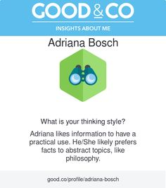 "I'm discovering my personality with Good&Co! This is what they have to say about me so far: ""You like information to have a practical use. You likely find abstract conversations about philosophy or science, dull."""