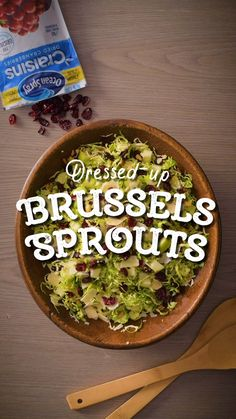 Dress up those Brussels Sprouts with Craisins® Dried Cranberries, an amazing burst of flavor for a healthier holiday side. Who knew the holidays could be healthy AND delicious? Deck Ideen Layout Dressed-up Brussels Sprouts with Craisins® Dried Cranberries Sprout Recipes, Vegetable Recipes, Vegetarian Recipes, Healthy Recipes, Sprouts Salad, Brussel Sprout Salad, Brussels Sprouts, New Recipes, Salad Recipes