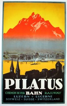 Pilatus Luzern Switzerland, 1920s - original vintage poster listed on AntikBar.co.uk