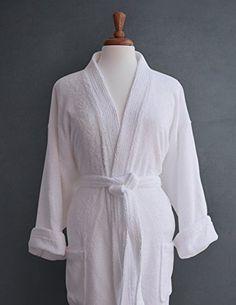 Luxor Linens Luxury Egyptian Cotton Unisex Terry Spa Robe - White Bath  Linens 6dfa3ae98