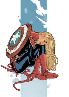 Broken Dreams - Captain Marvel with Captain America's Shield by Dave Seguin