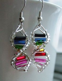 Nerds unite! I want to make these into Rainbow DNA beaded ornaments