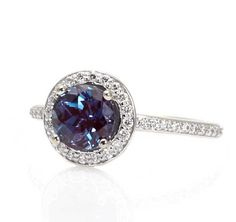 Alexandrite Engagement Ring Diamond Halo Setting by RareEarth, $1,130.00