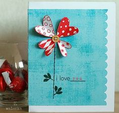 handmade Valentine card ... simple and sweet ... heat petal flower on blues ... luv the fresh look ...