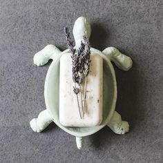 Love this turtle soap tray, fun bathroom detail.