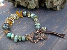 As Real as the Land they Ride - OOAK citrine african turquoise gem copper leather artisan lampwork rustic boho bracelet by PreciousViolet on Etsy