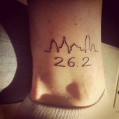Commemorative tattoo for my first marathon and the anniversary of the Philadelphia marathon But with the Boston skyline instead Time Tattoos, New Tattoos, Small Tattoos, I Tattoo, Tattoo Quotes, Tatoos, London Skyline Tattoo, Chicago Marathon, Philly Marathon