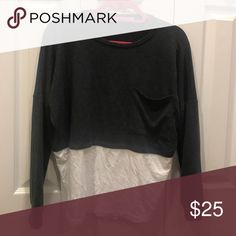 Grey long sleeve with white bottom Super cute and comfortable grey long sleeve with white attached bottom!! Tops Tees - Long Sleeve