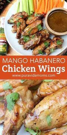 These mango habanero chicken wings are the perfect appetizer recipe. Buffalo Wild Wings copycat recipe, chicken wing recipe, grilled chicken wing, game day recipe, tailgate recipe Grilled Chicken Wings, Recipe Chicken, Baked Chicken, Indian Chicken Recipes, Yummy Chicken Recipes, Yum Yum Chicken, Easy Dinner Recipes, Healthy Appetizers